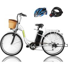 "NAKTO 250Watt Women City Electric Bicycle 6 Speed Gear EBike 26"" CAMEL White with Plastic Basket"