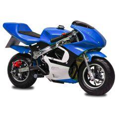 Blue GBmoto 40CC 4-Stroke Kids Gas Pocket Bike Mini Motorcycle