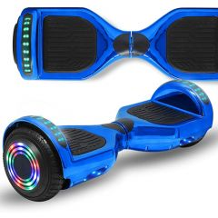 Chrome Blue 6.5 inch Hoverboard with Bluetooth Speaker & LED Flashing Wheels, Self Balancing Scooter (UL Listed)