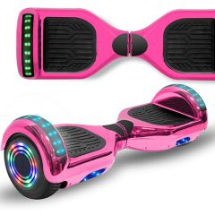 Chrome Pink 6.5 inch Hoverboard with Bluetooth Speaker & LED Flashing Wheels, Self Balancing Scooter (UL Listed)