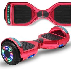 Chrome Red 6.5 inch Hoverboard with Bluetooth Speaker & LED Flashing Wheels, Self Balancing Scooter (UL Listed)