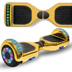 Chrome Gold 6.5 inch Hoverboard with Bluetooth Speaker & LED Flashing Wheels, Self Balancing Scooter (UL Listed)