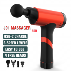 Massage Gun Cordless Handheld Massagers Deep Tissue Percussion Muscle Massager for Pain Relief with Carrying Case (Red)