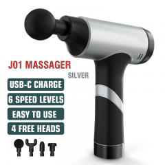 Massage Gun Cordless Handheld Massagers Deep Tissue Percussion Muscle Massager for Pain Relief with Carrying Case (Silver)
