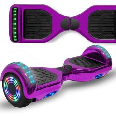 Chrome Purple 6.5 inch Hoverboard with Bluetooth Speaker & LED Flashing Wheels, Self Balancing Scooter (UL Listed)