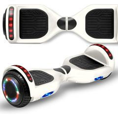 White 6.5 inch Hoverboard with Bluetooth Speaker & LED Flashing Wheels, Self Balancing Scooter (UL Listed)
